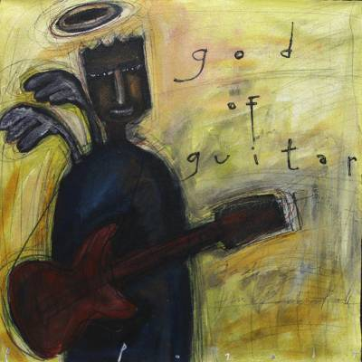 'God of Guitar' - Modern Painting of a Guitarist by a Javanese Artist