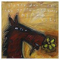 'Please Don't Eat the Yellow Flower' - Signed Modern Painting of a Horse with a Flower from Java