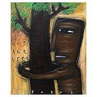 'I Hug the Tree' - Signed Modern Painting of a Man and a Tree from Java