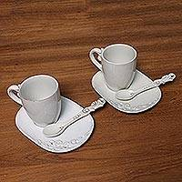 Ceramic mug and saucer set, 'Keraton Temptation in White' (6 pieces) - White Ceramic Pair of Mugs, Spoons and Saucers (6-Piece Set)