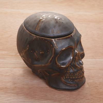 Ceramic decorative jar, 'Trunyan Keeper' - Ceramic Skull Decorative Jar
