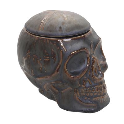 Ceramic Skull Decorative Jar