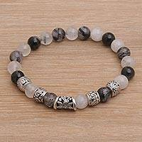Featured review for Tourmalinated quartz beaded stretch bracelet, Contemplate in Grey