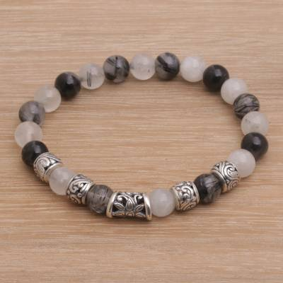 Tourmalinated quartz beaded stretch bracelet, 'Contemplate in Grey' - Tourmalinated Quartz and Sterling Silver Beaded Bracelet