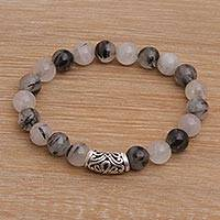 Tourmalinated quartz beaded stretch bracelet, 'Uluwatu Eclipse in Smoke' - Tourmalinated Quartz Beaded Stretch Bracelet