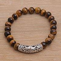 Tiger's eye beaded stretch bracelet, 'Stone Bouquet in Brown' - Tiger's Eye Beaded Stretch Bracelet