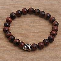 Tiger's eye beaded stretch bracelet, 'Full Circle in Maroon' - Tiger's Eye and Sterling Silver Beaded Stretch Bracelet