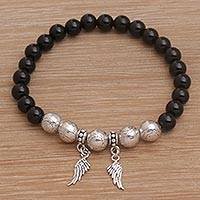 Onyx beaded stretch charm bracelet, 'Twilight Flight' - Onyx Beaded Stretch Bracelet with Sterling Silver Wings