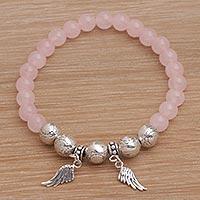 Rose quartz beaded stretch charm bracelet,