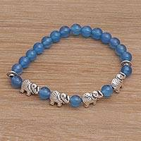 Agate beaded stretch bracelet, 'Elephant Cavalcade in Blue' - Balinese Agate and Sterling Silver Beaded Stretch Bracelet