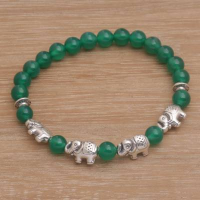 Quartz beaded stretch bracelet, Elephant Cavalcade in Green
