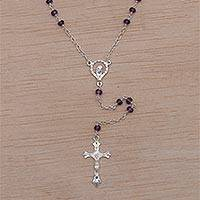 Amethyst rosary, 'Solemn Prayer' - Hand Crafted Amethyst and Sterling Silver Rosary Y-Necklace