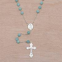 Amazonite rosary, 'Blessed Mary' - Handmade Amazonite and Sterling Silver Rosary Y-Necklace