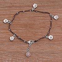 Rose quartz cord charm bracelet, 'Alluring Lotus in Brown' - Handmade 925 Sterling Silver Brown Floral Charm Bracelet