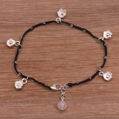 Rose quartz cord charm bracelet, Alluring Lotus in Black