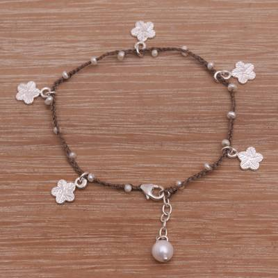 Cultured pearl cord charm bracelet, Cheerful Blooms in Brown