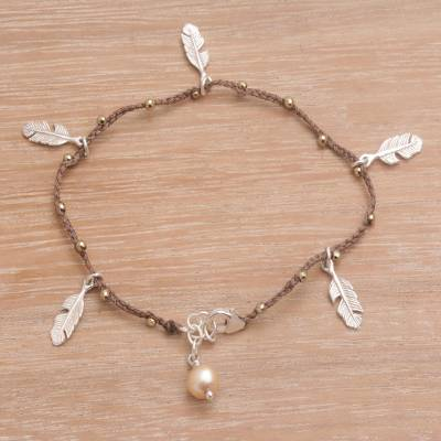Cultured pearl charm bracelet, 'Feathered Bliss in Brown' - Handmade 925 Sterling Silver Cultured Pearl Charm Bracelet
