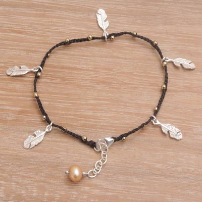 Cultured pearl charm bracelet, 'Feathered Bliss in Black' - Handmade 925 Sterling Silver Cultured Pearl Cord Bracelet