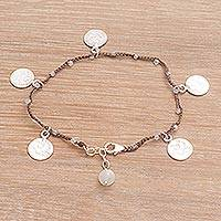 Moonstone braided cord charm bracelet, 'Elegant Doves' - Handmade in Bali 925 Sterling Moonstone Brown Cord Bracelet