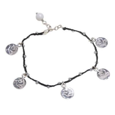 Handcrafted Moonstone Braided Cord Silver Bird Charm Bracelet