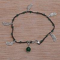 Green quartz cord charm bracelet, 'Feathery Glitz' - Artisan Crafted 925 Sterling Silver Green Quartz Bracelet