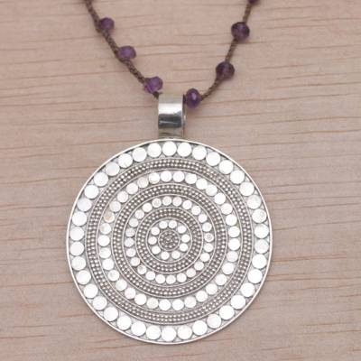 Amethyst pendant necklace, 'Shining Shield' - Handmade 925 Sterling Silver Amethyst Cord Pendant Necklace