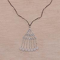 Rainbow moonstone and moonstone pendant necklace,