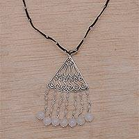 Rainbow moonstone and moonstone pendant necklace, 'Rise and Fall in Black' - Rainbow Moonstone and Moonstone Black Cord Pendant Necklace