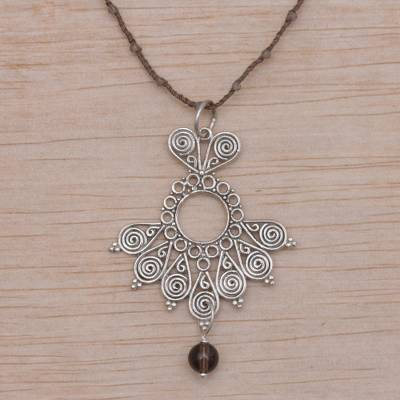 Smoky quartz pendant necklace, 'Serenity Swirls in Brown' - Balinese Smoky Quartz and Brown Cord Pendant Necklace
