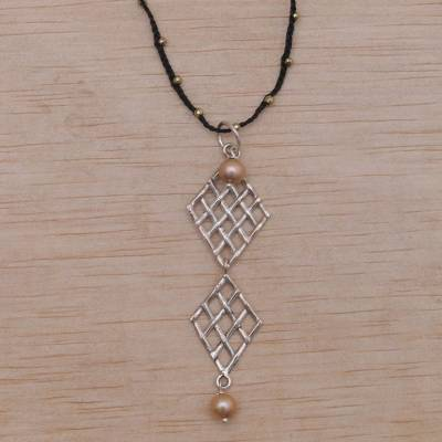 Cultured pearl and pyrite pendant necklace, 'Twin Ketupat in Black' - Cultured Pearl, Pyrite, and Sterling Silver Pendant Necklace