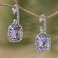 Amethyst half-hoop earrings,