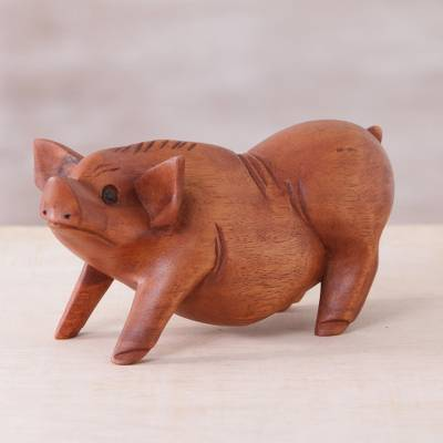 Wood statuette, 'Standing Ground' - Hand Carved Suar Wood Determined Pig Statuette