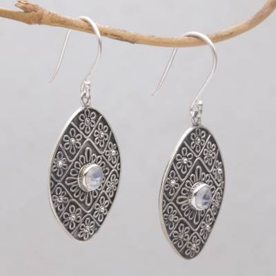 Rainbow moonstone dangle earrings, 'Shield of Daisies' - Rainbow Moonstone and Sterling Silver Floral Dangle Earrings