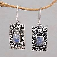 Rainbow moonstone dangle earrings, 'Mystical Sanctuary' - Rectangular Rainbow Moonstone and Sterling Silver Earrings
