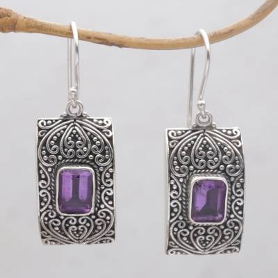 Amethyst dangle earrings, 'Mystical Sanctuary' - Rectangular Amethyst and Sterling Silver Dangle Earrings