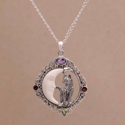 Multi-gemstone pendant necklace, 'Kitty's Night' - Handmade 925 Sterling Silver Garnet Cat Pendant Necklace