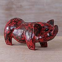 Wood statuette, 'Babi Merah' - Hand Carved Albesia Wood Red Pig Statuette from Bali