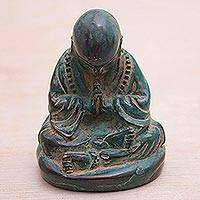 Bronze figurine, 'Buddha's Enlightenment' - Handcrafted Balinese Bronze Meditating Buddha Figurine