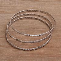 Sterling silver bangle bracelets,