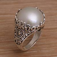 Cultured pearl domed ring, 'Palatial Dreams' - Cultured Mabe Pearl and Sterling Silver Domed Ring from Bali