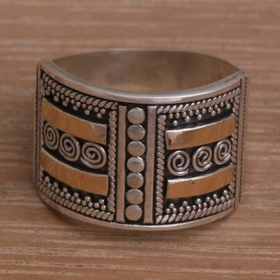 Handmade Sterling Silver Band Ring with 18k Gold Accent