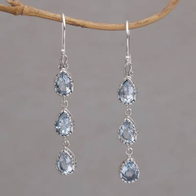 Blue topaz dangle earrings, 'Eternity Drop' - Blue Topaz and Sterling Silver Dangle Earrings from Bali