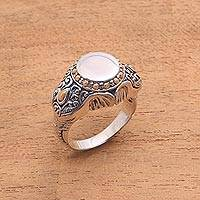 Men's gold accent sterling silver ring, 'Watch My Back' - Men's Gold Accent Sterling Silver Elephant Ring from Bali