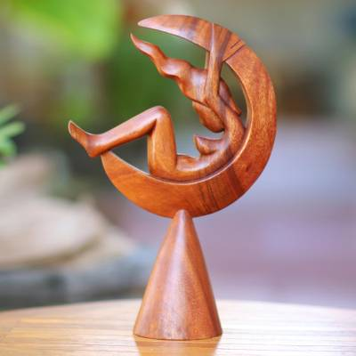 Wood sculpture 'The Moon Goddess I' - Handcrafted Indonesian Wood Sculpture