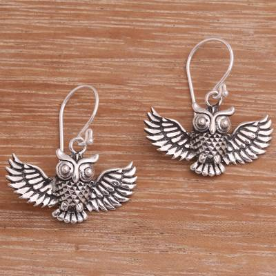 Sterling silver dangle earrings, 'Double Hoot' - Handcrafted Sterling Silver Owl Dangle Earrings from Bali
