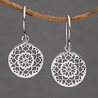 Sterling silver dangle earrings, 'Enchanting Mandalas' - Round Sterling Silver Mandala Flower Earrings from Bali