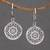 Sterling silver dangle earrings, 'Enchanting Mandalas' - Round Sterling Silver Mandala Flower Earrings from Bali thumbail