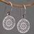 Sterling silver dangle earrings, 'Enchanting Mandalas' - Round Sterling Silver Mandala Flower Earrings from Bali (image 2b) thumbail