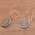Sterling silver dangle earrings, 'Enchanting Mandalas' - Round Sterling Silver Mandala Flower Earrings from Bali (image 2c) thumbail