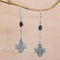 Garnet dangle earrings, 'Dragonfly Altar' - Handmade 925 Sterling Silver Garnet Dragonfly Earrings